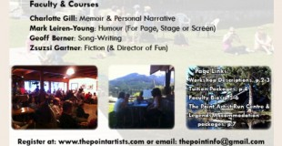 Writers Adventure Camp at The Point June 6 & 7, 2015 Whistler, BC